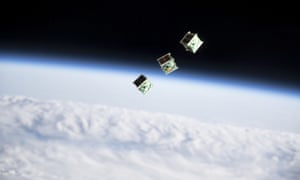 Three CubeSats pictured shortly after being ejected from a Japanese spacecraft in 2019.