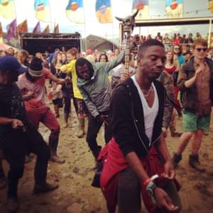 Dancing at Glastonbury in 2014