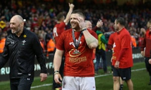 Rob Evans celebrates after Wales clinched the grand slam.