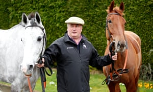 Paul Nicholls with Politologue, left, and Movewiththetimes at his Somerset stable on Tuesday.
