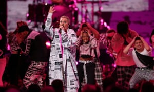 Pink performing at the Brit awards, 20 February 2019.