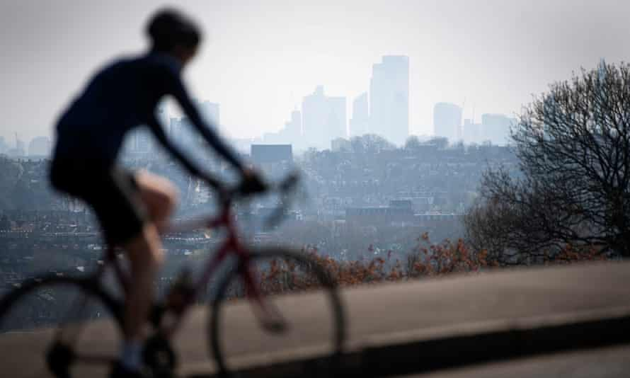 Still mobile: a cyclist at Alexandra Park, London, during the Covid-19 crisis
