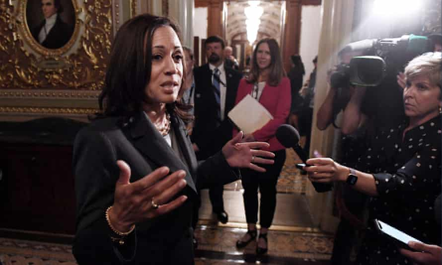 Kamala Harris speaks to reporters after the US Senate voted on the election bill known as the For the People Act