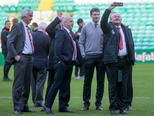 Brechin's chairman, Ken Ferguson, takes a selfie before the Scottish Cup defeat at Celtic. 'The vibe in the dressing room is good,' he says.