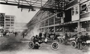 Model T Ford motor car production in Highland Park, Michigan, 1914.