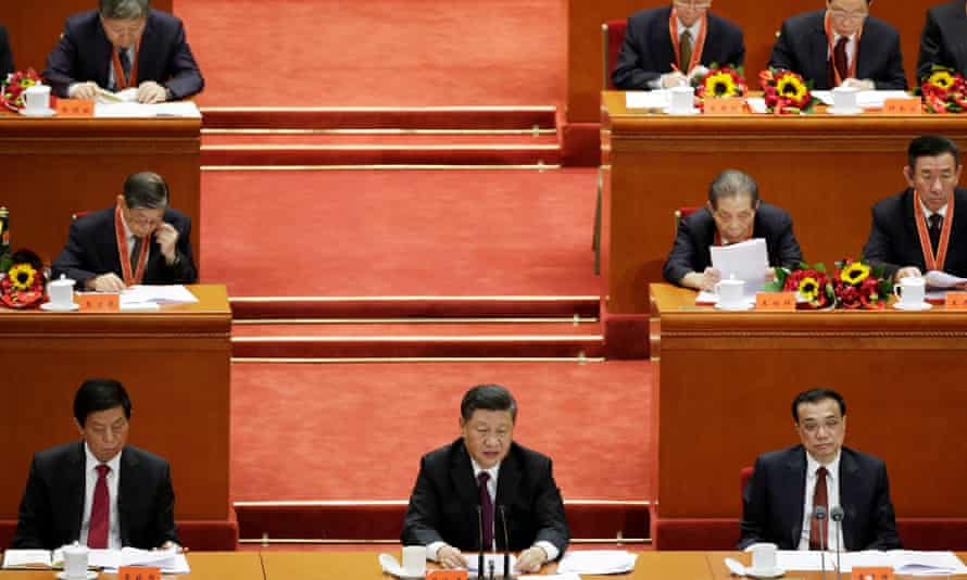 Xi Jinping delivers his speech marking the 40th anniversary of China's reform policies.
