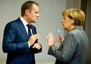 Donald Tusk and Angela Merkel.