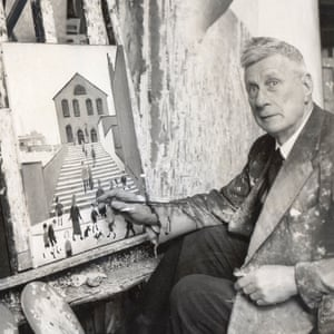 LS Lowry painting in his home in 1960. He died aged 88 in 1976.