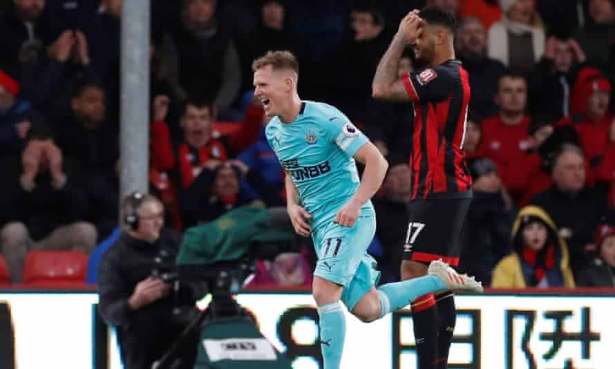 Matt Ritchie celebrates scoring Newcastle's second goal against Bournemouth.