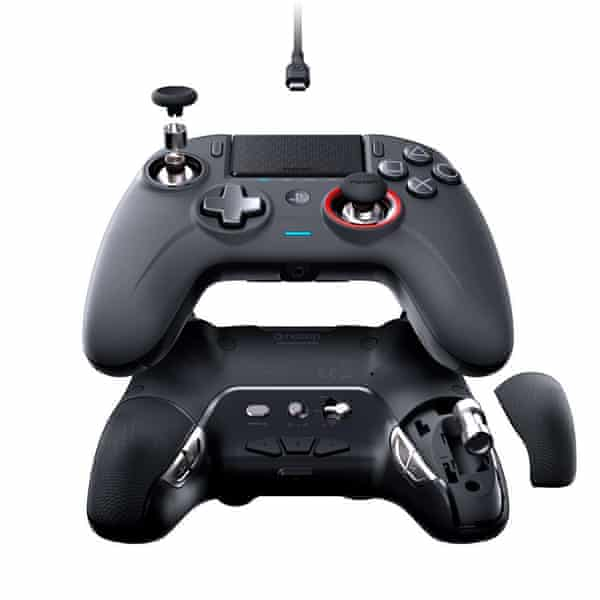Controller with joystick in top left and several buttons.