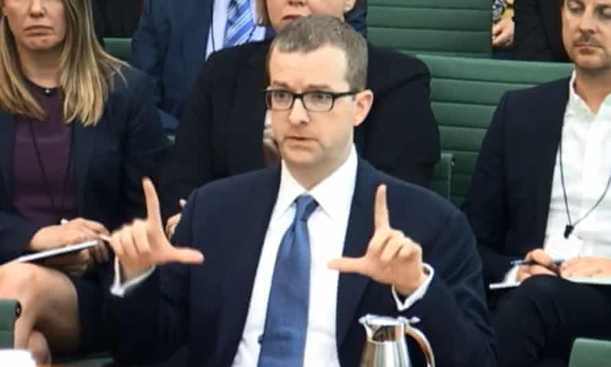 A videograb of Facebook's Mike Schroepfer giving evidence to the Digital, Culture, Media and Sport committee.