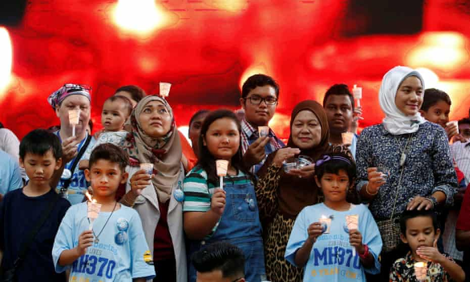 Family members at a remembrance event for the missing Malaysia Airlines flight MH370 in Kuala Lumpur, Malaysia, in 2019.