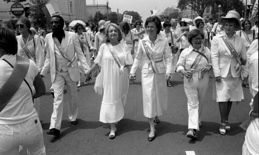 Betty Friedan, third from left, on a women's rights march in Washington in the 1970s