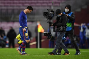 Messi looks dejected as he walks off at full-time.