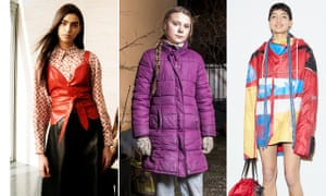 Composite image showing (from left) Vestiaire Collective, Greta Thunberg, and Bethany Williams AW19