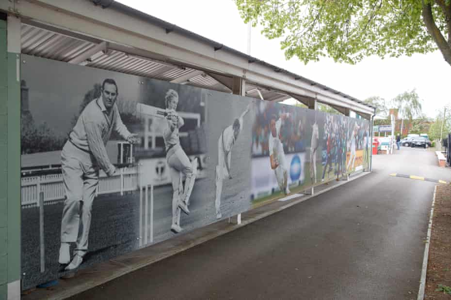 A wall at the Fischer County Ground of Leicestershire's former England players featuring (left-right) Ray Illingworth, David Gower, Jonathan Agnew, Stuart Broad, Chris Lewis, Paul Nixon and James Taylor.