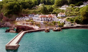 Aerial veiw of the Cary Arms on the water, Babbacombe Beach, Torquay