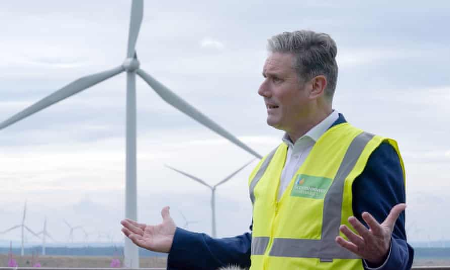 Starmer during a visit to Whitelees windfarm in Eaglesham, Scotland, in August.