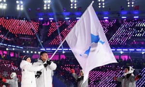 The North Korea and South Korea Olympic teams enter together at the Pyeongchang 2018 opening ceremony