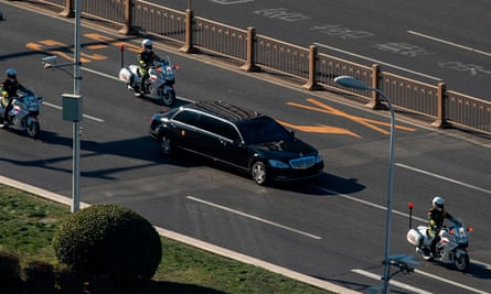 A vehicle in the motorcade of North Korean leader Kim Jong-un is seen in Beijing.