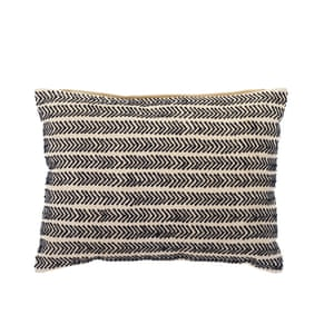 Beige cushion with navy detail
