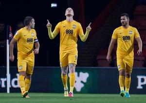 Preston North End's Simon Makienok celebrates after scoring their first goal.