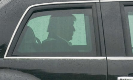 Donald Trump leaves the White House as he heads to Andrews air force base on Saturday to tour damage from Hurricane Laura in Texas and Louisiana.