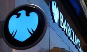 A Barclays bank sign with the eagle logo