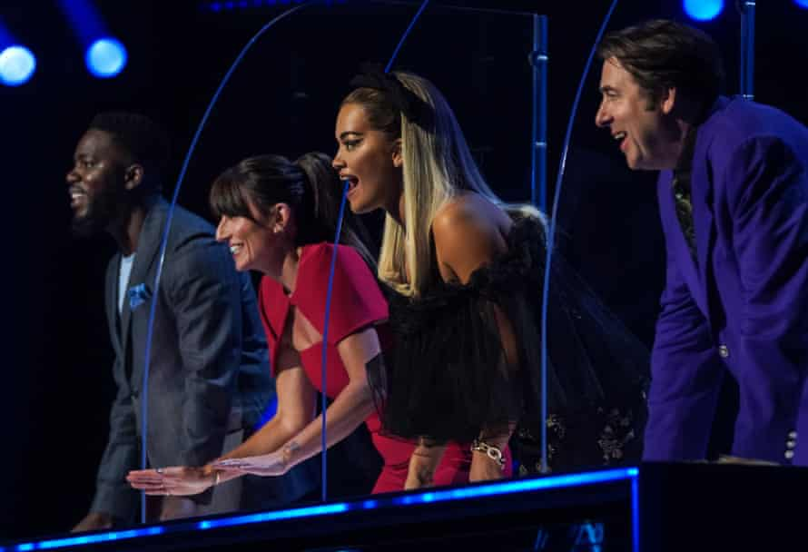 This year's judges on Uk series two of The Masked Singer are, from left to right, Mo Gilligan, Davina McCall, Rita Ora and Jonathan Ross.
