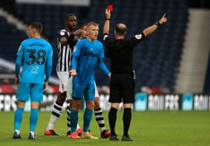 Louie Sibley is sent off against West Brom in July. He says he plays 'on the edge' but is learning how to cut out 'stupid fouls'.
