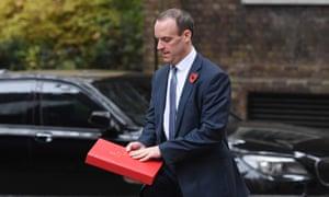 The Brexit secretary, Dominic Raab