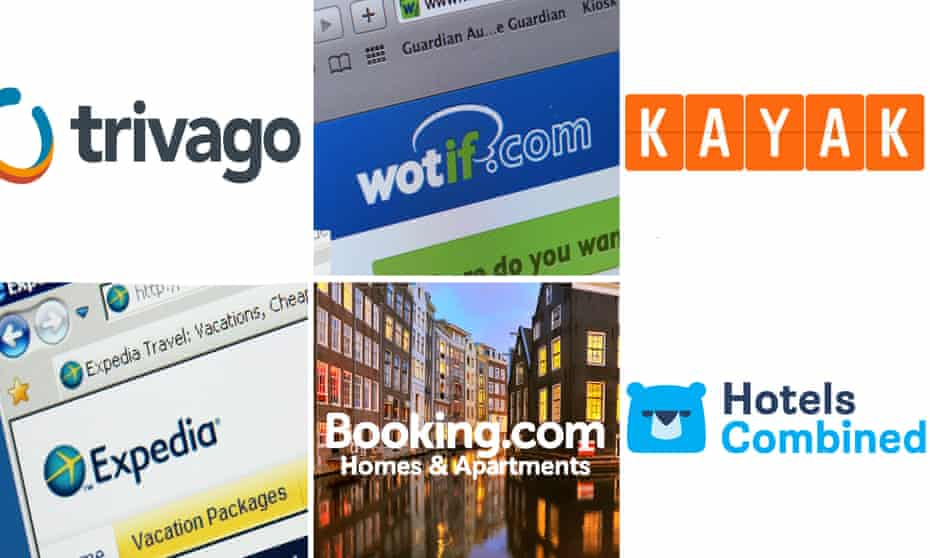 A composite of online booking sites
