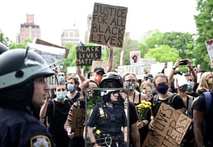 Protesters demonstrate on 2 June 2020, during a Black Lives Matter protest at Washington Square in New York City.
