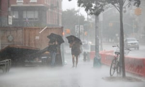 Heavy rain and wind buffets New York on Tuesday afternoon. Forecasters predicted more damage as it moved into New England later in the day.