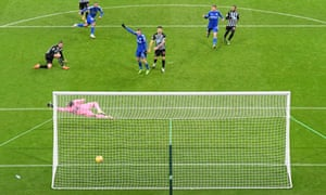 Youri Tielemans (top left) scores Leicester's second goal at St James' Park.