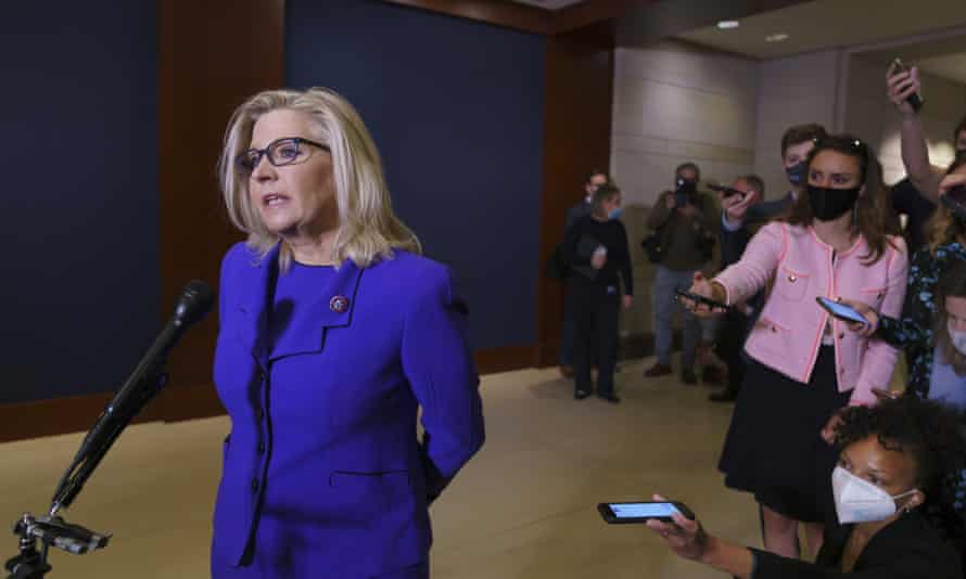 Liz Cheney speaks to reporters at the US Capitol.