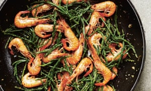 Taste of the sea: samphire and prawns with butter and mace.