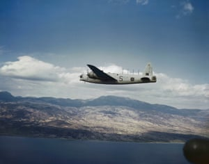 The Wellington GR Mk XIII of 221 Squadron flies over the Aegean in March 1945