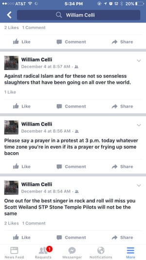 William Celli posted several anti-Muslim comments on Facebook.