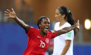 Nichelle Prince celebrates scoring Canada's second goal in the Women's World Cup Group E match against New Zealand.