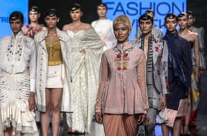 Mumbai, India. Models present the summer 2020 collection from the Indian label House of Three during the Lakme fashion week