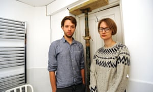 Clare Phipps and her boyfriend Matt Hawkins in their damaged flat: 'I can't imagine having my own home.'