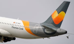 A plane bearing the logo of Thomas Cook, the world's oldest travel operator before its collapse.