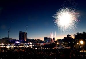 Fireworks are seen over Elder Park in Adelaide, South Australia