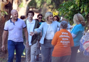Independent candidate for Warringah Zali Steggall and her husband Tim Irving arrive at Balgowlah north public school.