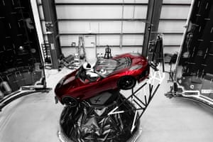 Starman the robot in the Red Roadster car which was inside the Falcon Heavy missile