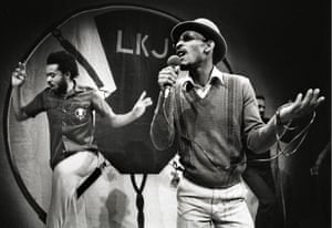 Linton Kwesi Johnson on stage in Amsterdam, 1980.