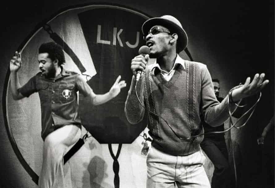Linton Kwesi Johnson on stage in Amsterdam, 1980.