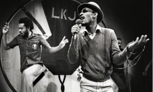 Johnson created the dub poetry literary genre … pictured on stage in Amsterdam in 1980.