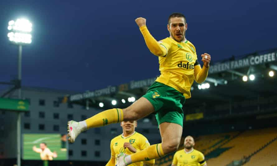 Emiliano Buendía celebrates after scoring one of his 15 goals for Norwich last season.